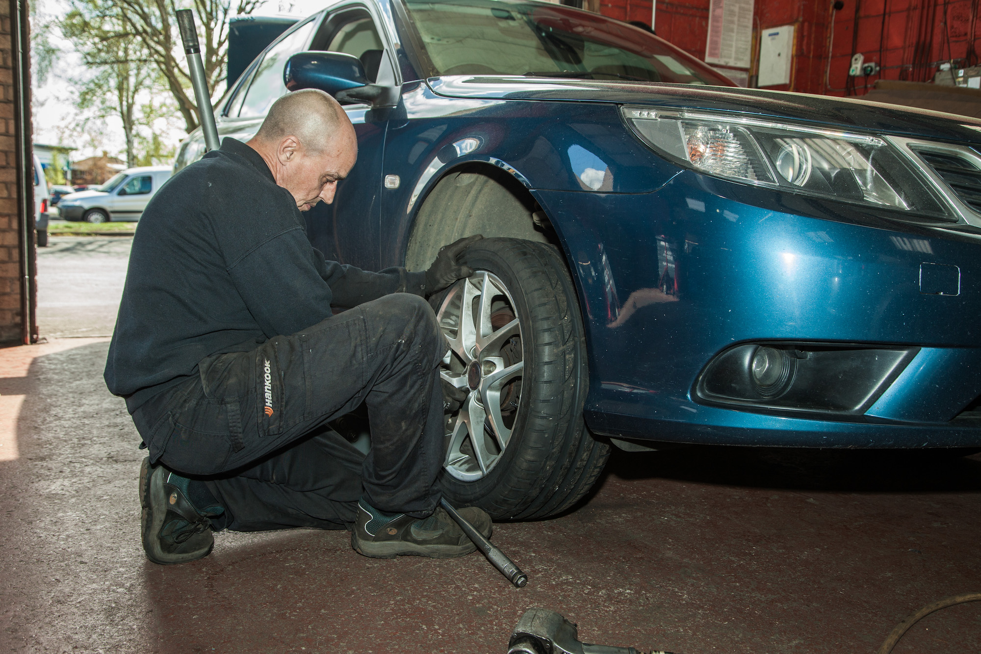Tyre being fitted