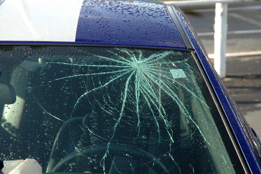 Damaged Windscreen on car