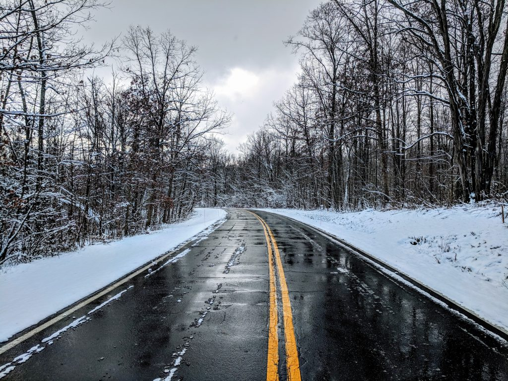 Salt on the road in winter