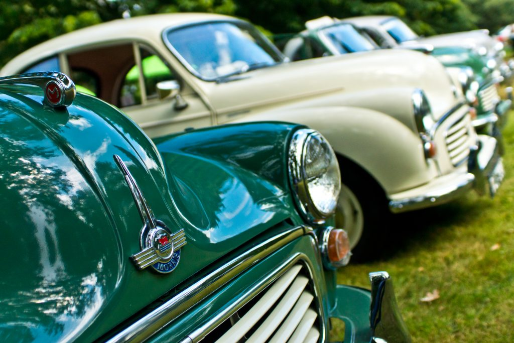 A row of morris minors - typical classic car MOT exemptions