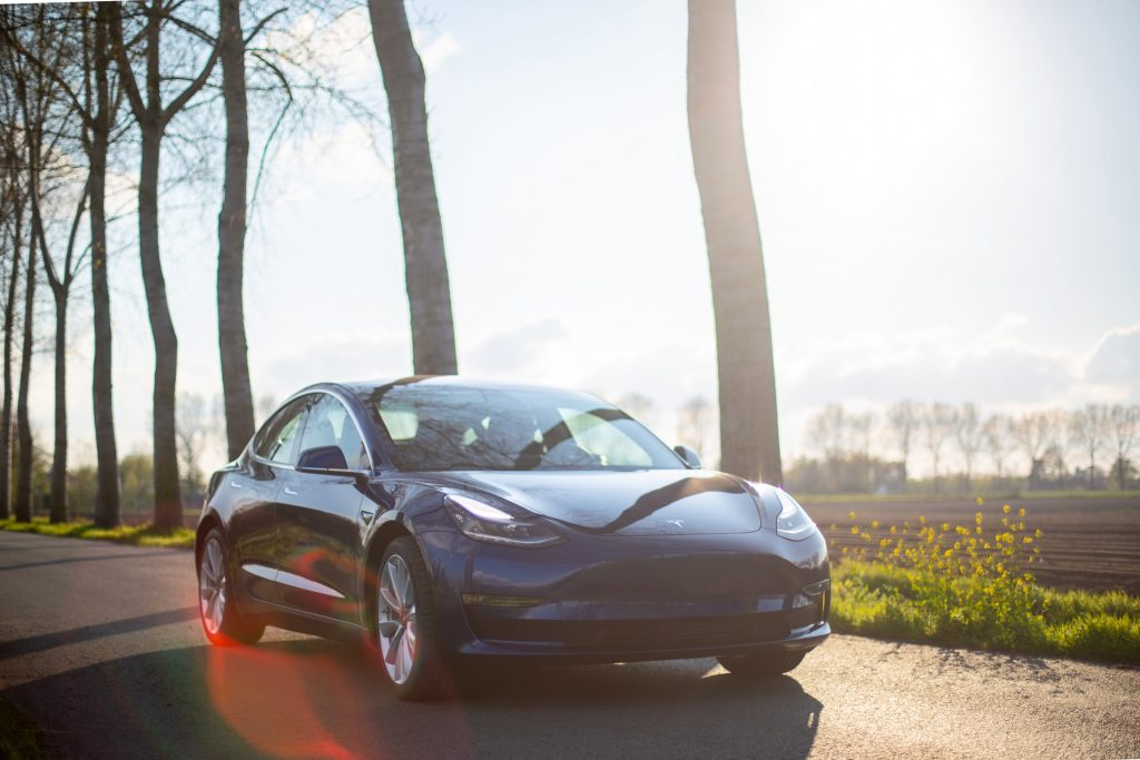 Black Tesla on its way to get an electric car MOT